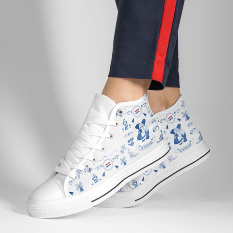 THE NETHERLANDS Symbols High Top White Shoes A02