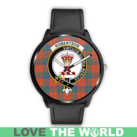 Image of Robertson Ancient Clan Badge Tartan Leather/Steel Watch - Bn |Men and Women| 1sttheworld
