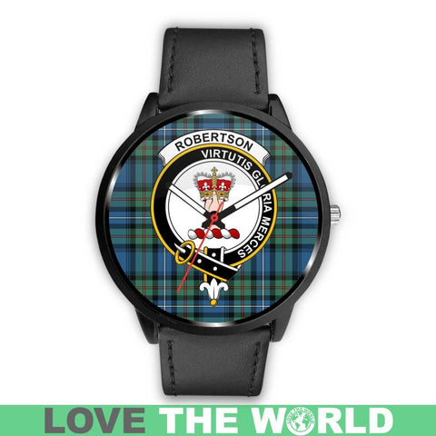 Robertson Hunting Ancient Clan Badge Tartan Leather/Steel Watch - Bn |Men and Women| 1sttheworld