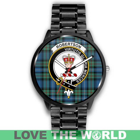 Robertson Hunting Ancient Clan Badge Tartan Leather/steel Watch - NN5 Mens 40Mm / Brown
