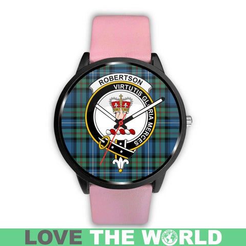 Image of Robertson Hunting Ancient Clan Badge Tartan Leather/Steel Watch - Bn |Men and Women| 1sttheworld