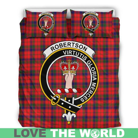 Robertson Modern Tartan Clan Badge Bedding Set Th1 Bedding Set - Black Black / Queen/full Sets