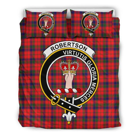 Robertson Modern Clan Badge Tartan Bedding Set Th1 Bedding Set - Black Black / Queen/full Sets