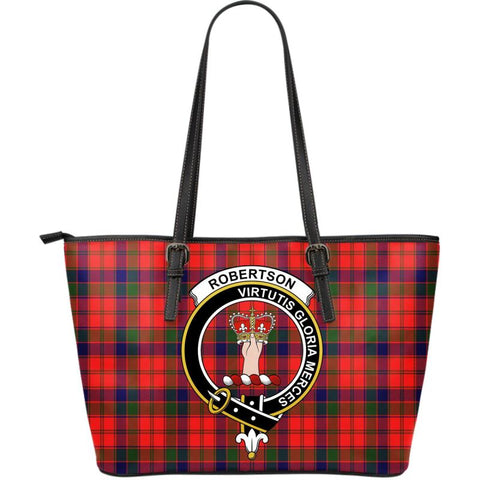 Robertson Modern Tartan Handbag - Clan Badge Large Leather Tartan Bag