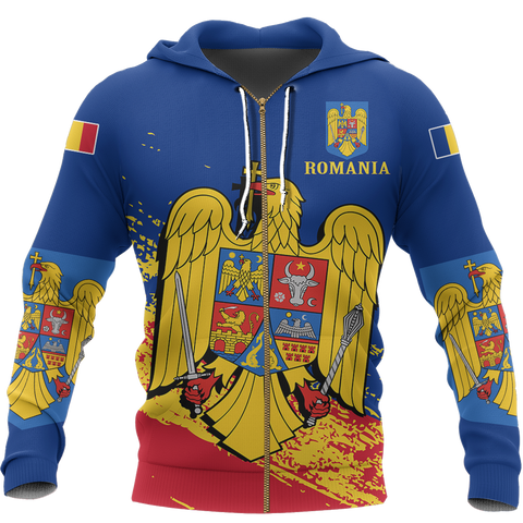 Romania Special Zip Hoodie Blue - Version 02 | High Quality | Hot Sale