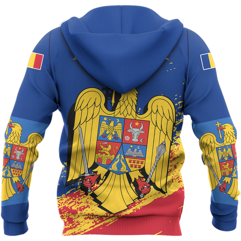 Image of Romania Special Zip Hoodie Blue - Version 02 | High Quality | Hot Sale