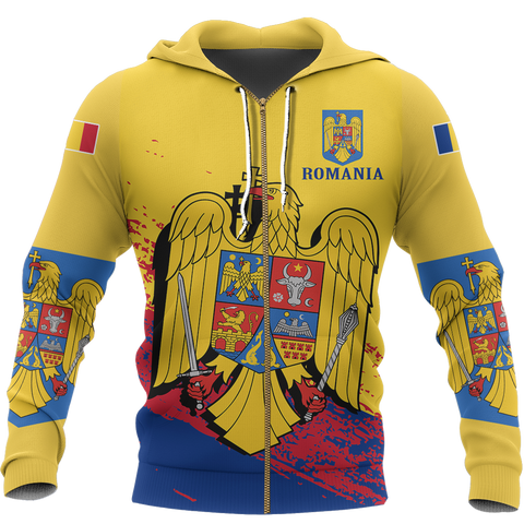 Romania Special Zip Hoodie Yellow - Version 02 | High Quality | Hot Sale