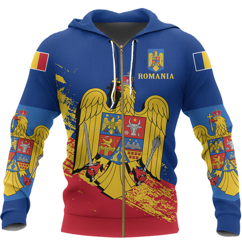 Image of Romania Special Zip Hoodie Blue Version | High Quality | Hot Sale