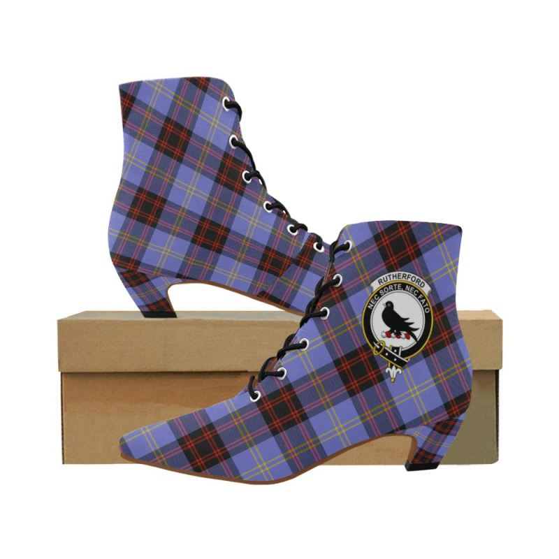 Tartan Low Heel Shoes - Rutherford Pointed Toe Boots - BN02