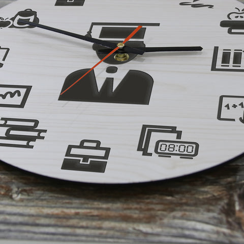 Elegant Education,School Icons, Wooden Wall Clock, Elegant Education Wooden Wall Clock, School Icons Wooden Wall Clock, back to school Wooden Wall Clock, back to school, education