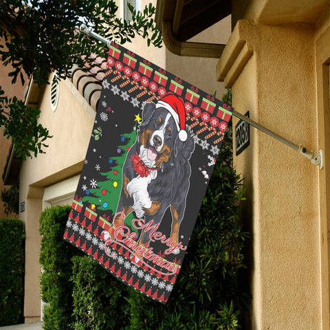 Image of home decor, christmas, bernese mountain dog, swiss bernese, garden flags, merry christmas, cyber monday, black friday, 1sttheworld, online shopping