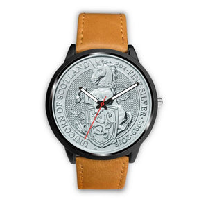 Scotland Coin Leather-Steel Watch 02 E7 Mens 40Mm / Brown Watches