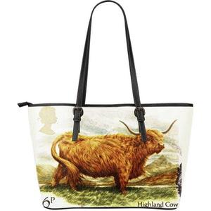 Scotland Cow Large Leather Tote Bag T1 Totes