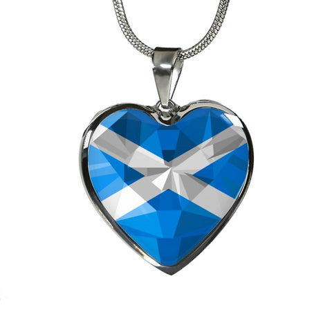 Scotland Crystal Flag Heart-Shaped ( Necklace And Bangle) F7 Luxury Necklace (Silver) Jewelries