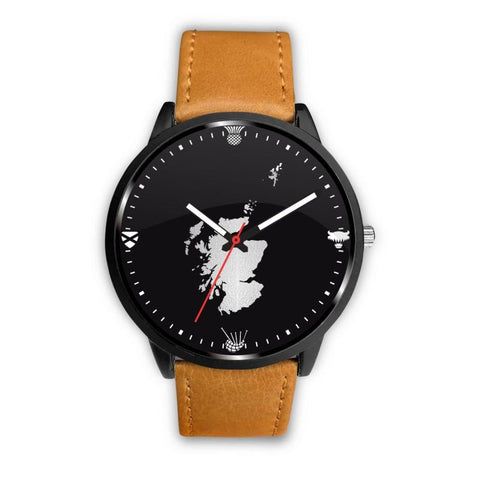 Scotland Cultural Leather/steel Watch A3 Mens 40Mm / Brown Leather-Steel Watches