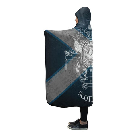 Scotland Flag Hooded Blanket 09 - Bn02 One Size / White Coat Of Arms With Circle Lion Head Hooded