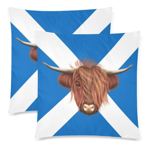 Image of Scotland - Highland Cow Pillow Case A2 One Size / Gàéi Custom Zippered Pillow Cases 18X 18 (Twin