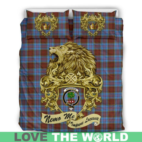 Image of Scotland Lion Anderson Modern Tartan Bedding Set D7 Bedding Set - Black / Twin Sets