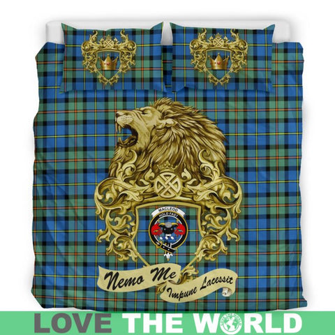 Image of Scotland Lion Macleod Of Harris Ancient Tartan Bedding Set D7 Bedding Set - Black / Twin Sets