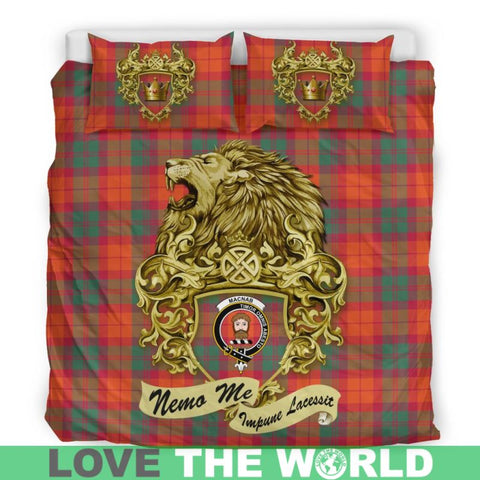 Scotland Lion Macnab Ancient Tartan Bedding Set D7 Bedding Set - Black / Twin Sets