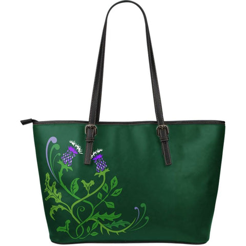Scotland Thistle Leather Tote Bag / Small Size H4 |Bags| Love The World