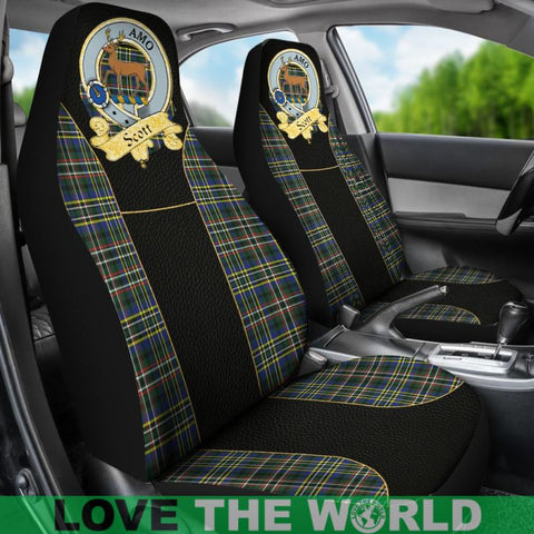 Image of Scott Clan Badge Tartan Golden Car Seat Covers R1