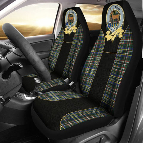 Scott Clan Badge Tartan Car Seat Cover - Golden Clan Badge
