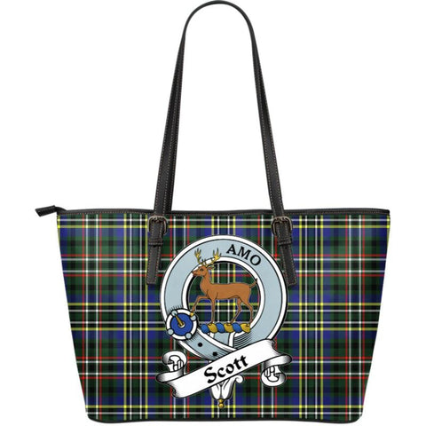 Scott Green Modern Tartan Handbag - Clan Badge Large Leather Tartan Bag