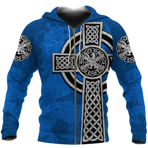 Image of Scottish Lion Celtic Cross Zip Hoodie | 1sttheworld.com
