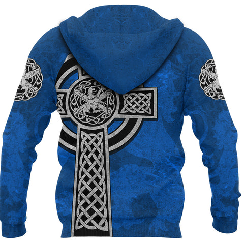 Scottish Lion Celtic Cross Zip Hoodie K4
