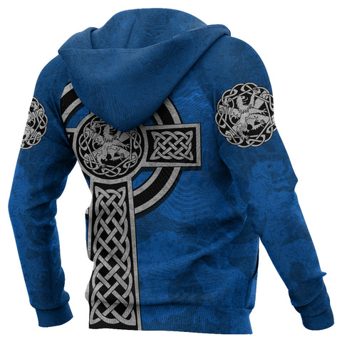 Scottish Lion Celtic Cross Zip Hoodie | 1sttheworld.com