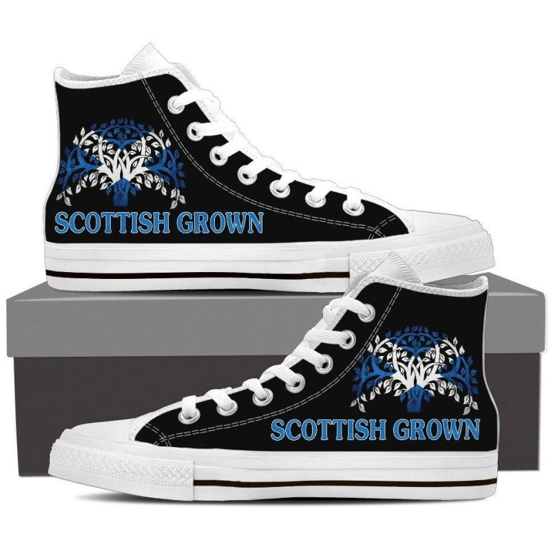 Scottish Grown Shoes - Mens High Top Canvas Mens High Top White White / Us8 (Eu40)
