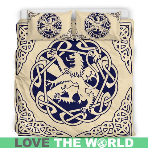 Image of scottish, lion, scotland flag, bedding set, luxury, thistle flower, rampant lion