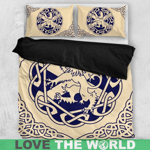 Image of scottish, lion, scotland flag, bedding set, luxury, thistle flower
