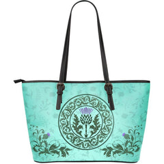 SCOTTISH THISTLE 01 LARGE LEATHER TOTE H4