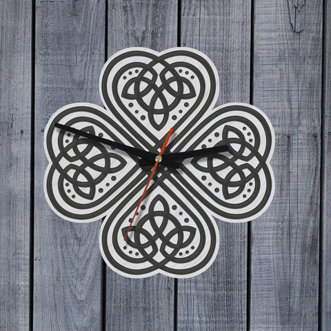 celtic shamrock, celtic wall clock, wooden wall clock, home decor, online shopping, 1sttheworld, clock