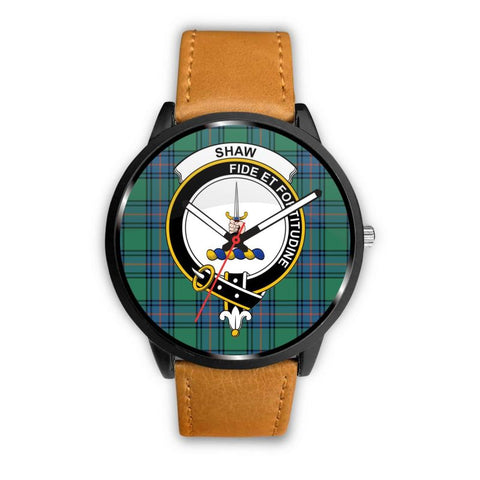Shaw Ancient Clan Badge Tartan Leather/steel Watch - NN5 Mens 40Mm / Brown Leather-Steel Watches