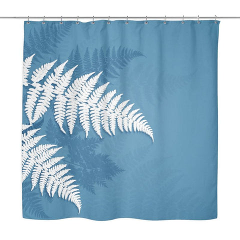 Image Of Silver Fern Blue Shower Curtain X1 Left Curtains