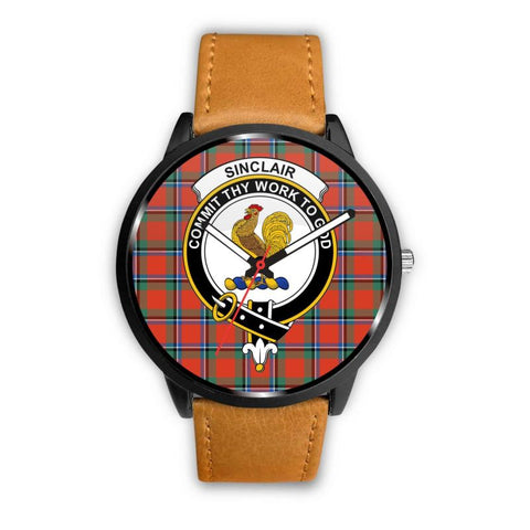 Sinclair Ancient Clan Badge Tartan Leather/steel Watch - NN5 Mens 40Mm / Brown Leather-Steel Watches