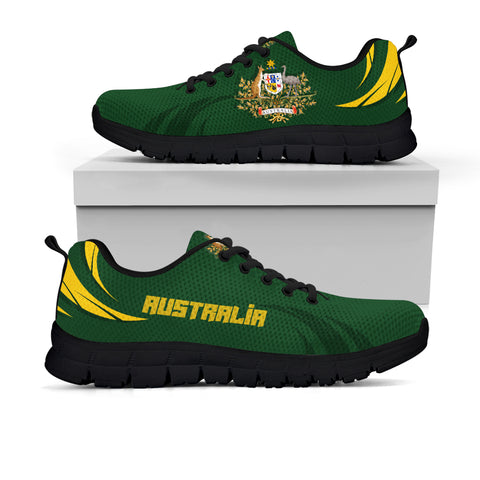 1stTheWorld Australia Sneakers, Australia Coat Of Arms Green A10