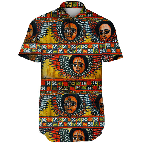 Image of Ethiopia Short Sleeve Shirt Debre Birhan Selassie Church Pattern