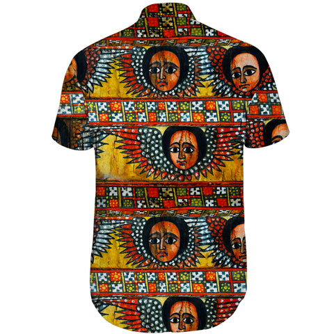 Ethiopia Short Sleeve Shirt Debre Birhan Selassie Church Pattern