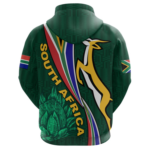 South Africa Zip Hoodie Springboks Rugby Be Unique - Green K8