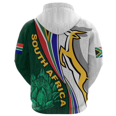 South Africa Zip Hoodie Springboks Rugby Be Unique - White K8