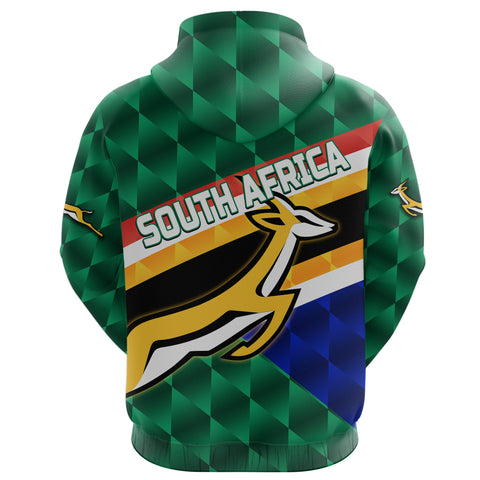 Image of South Africa Zip Hoodie Springboks Rugby Sporty Style K8
