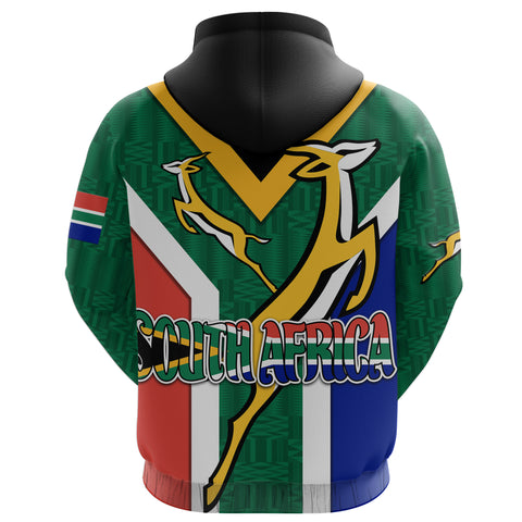 South Africa Zip Hoodie Springboks Rugby Be Proud K8