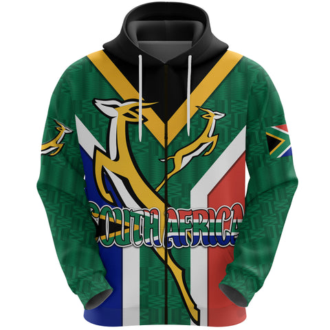 South Africa Zip Hoodie Springboks Rugby Be Proud