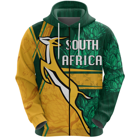 South Africa Zip Hoodie Springboks Rugby Be Fancy