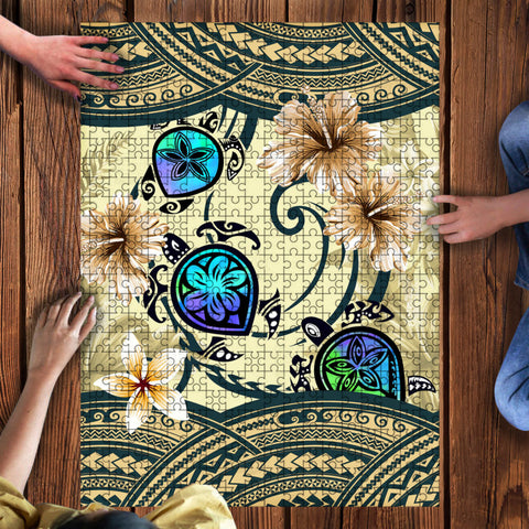 Kanaka Maoli (Hawaiian) Wood Puzzle - Polynesian Turtle Hibiscus And Seaweed | Love The World
