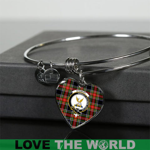 Image of Stewart Black Tartan Silver Bangle - Sd1 Luxury Bangle (Silver) Jewelries